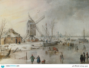 A WINTER SCENE WITH A WINDMILL AND FIGURES ON A FROZEN RIVER  Hendrick avercamp