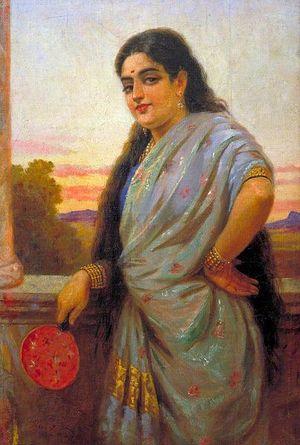 Woman holding a fan  Raja Ravi Varma