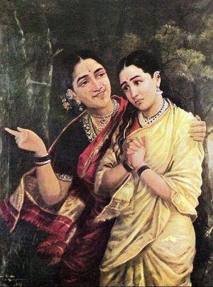 Simhika and Sairandri  Raja Ravi Varma