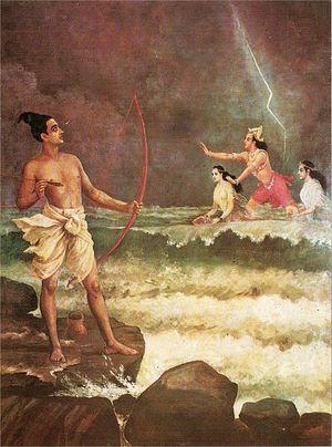 Sri Rama Vanquishing the Sea  Raja Ravi Varma