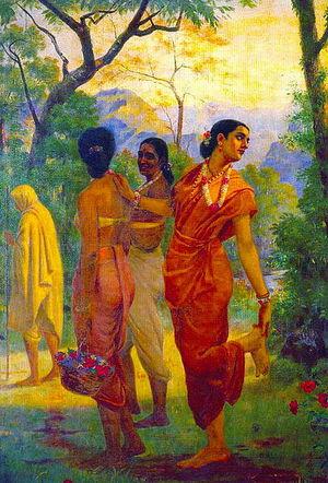 Shakuntala looking back to glimpse Dushyanta  Raja Ravi Varma