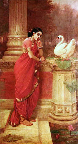 Damayanthi talking with Royal swan about Nala  Raja Ravi Varma