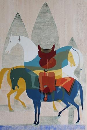 سه اسب مینیاتوری و سرو  از محمد هادی فدوی