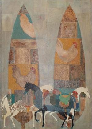 خروس-جغد-سرو-اسب از محمد هادی فدوی