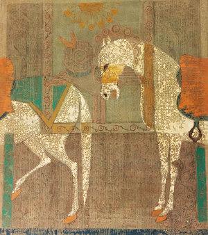 اسب های سفید با دو درخت زندگی و ماهی ها از محمد هادی فدوی