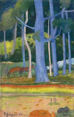 Paysage aux troncs bleus   Paul  Gauguin