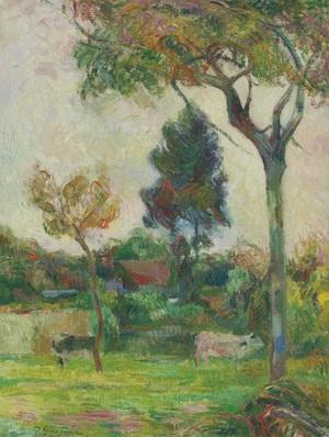 Deux vaches au pré   Paul  Gauguin