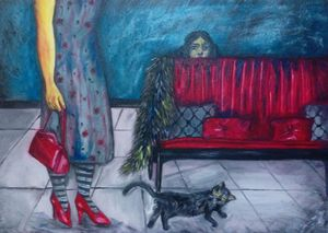 woman and cat  Mitra Babaey