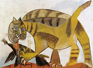 گربه در حال خوردن پرنده از  پابلو پیکاسو روییس ای پیکاسو