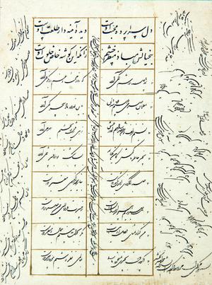 بدون عنوان از  محمود کاشانی(ملک الشعرا) (1311-1228 ه.ق)