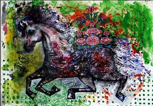 Iranian horse and flowers  Shamsedin Ghazi