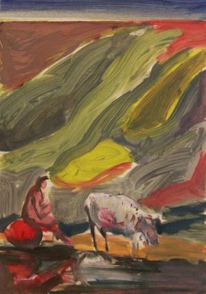 Farmer and cow  ghader Mansoori