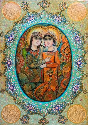 Layla and Majnun oilpainting on gold leaf  abdollah  rahimi