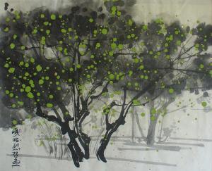 Lotus tree - Kish Island - Chinese Painting  Ghazaleh Akhavan Zanjani